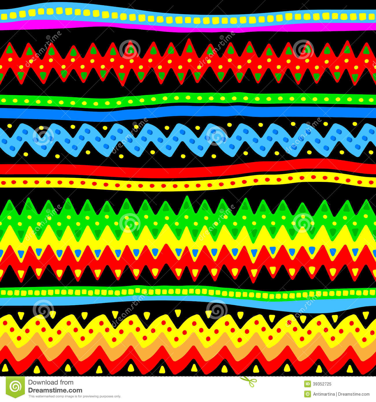 Colorful Seamless Vector Tribal Pattern Stock Vector