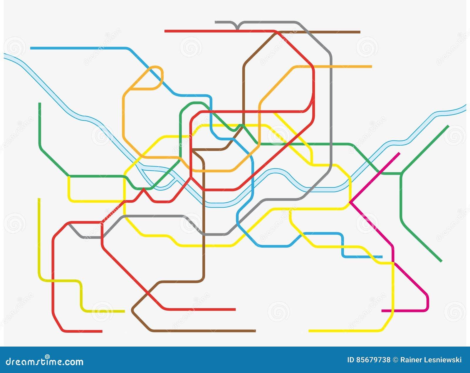 Seoul City Subway Map.Colorful Seoul Metropolitan Subway Map Stock Vector Illustration