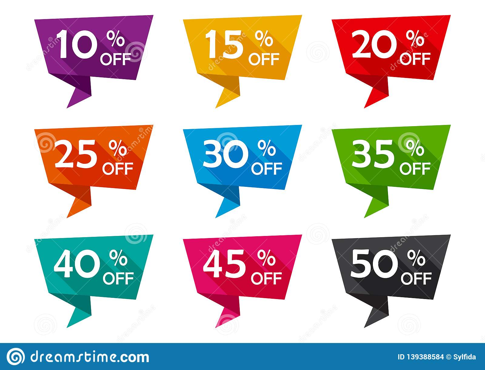 Set of advertising tag ribbons with different discount offers. Vector illustration