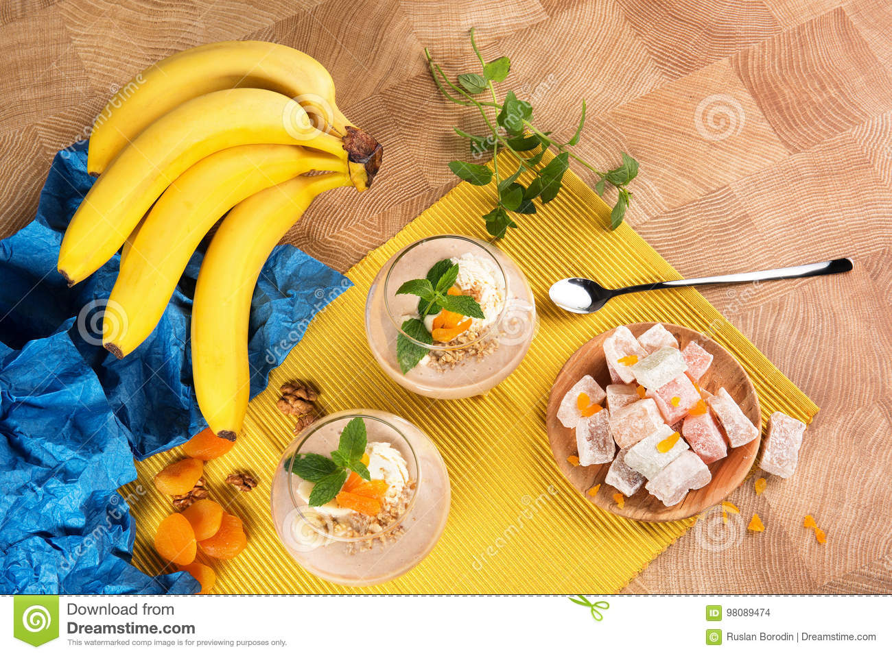 a colorful set of bananas turkish delight dried apricots and