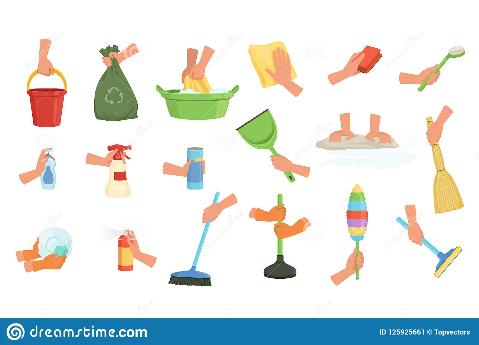 Colorful set of human hands using rag, dust brush, mop, broom, scoop and plunger. Equipment for cleaning house or car