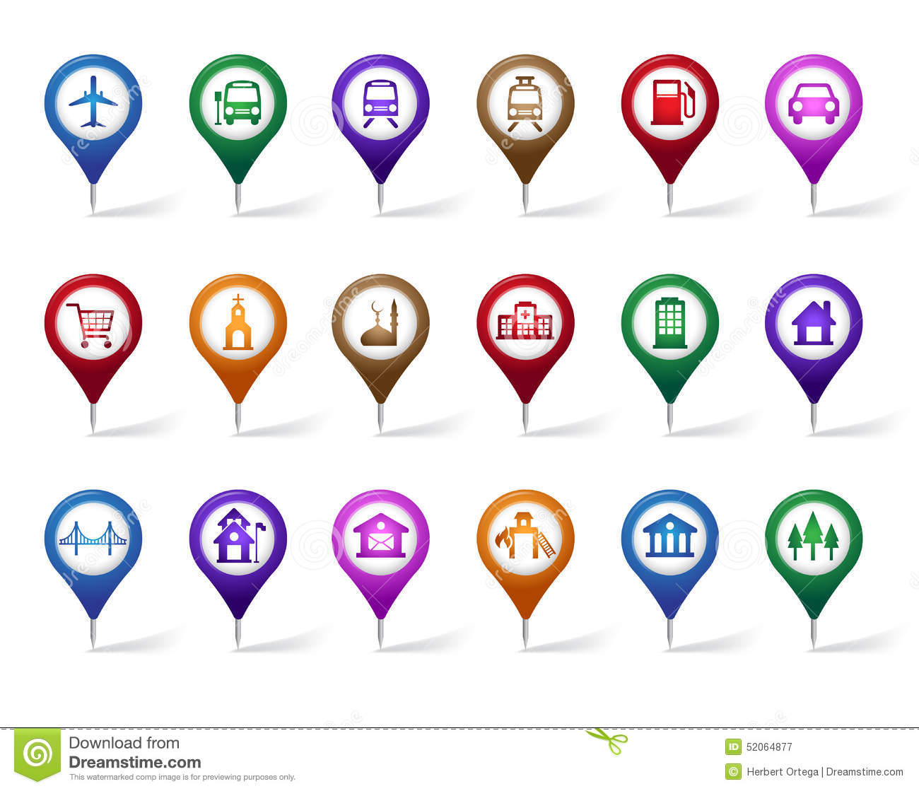 Colorful Set Of Location Places Travel And Destination Pin Icons – Travel Destination Maps