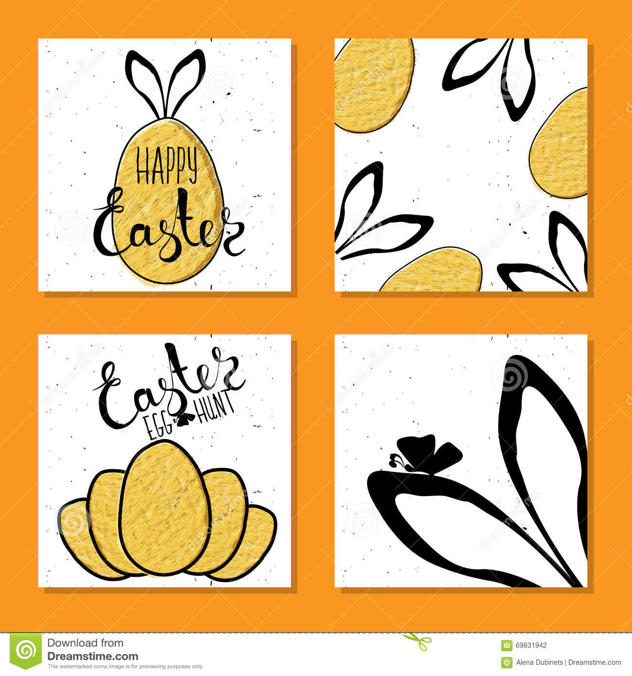 Colorful Set Printable Card For Easter With Eggs And Rabbit Ears Vector