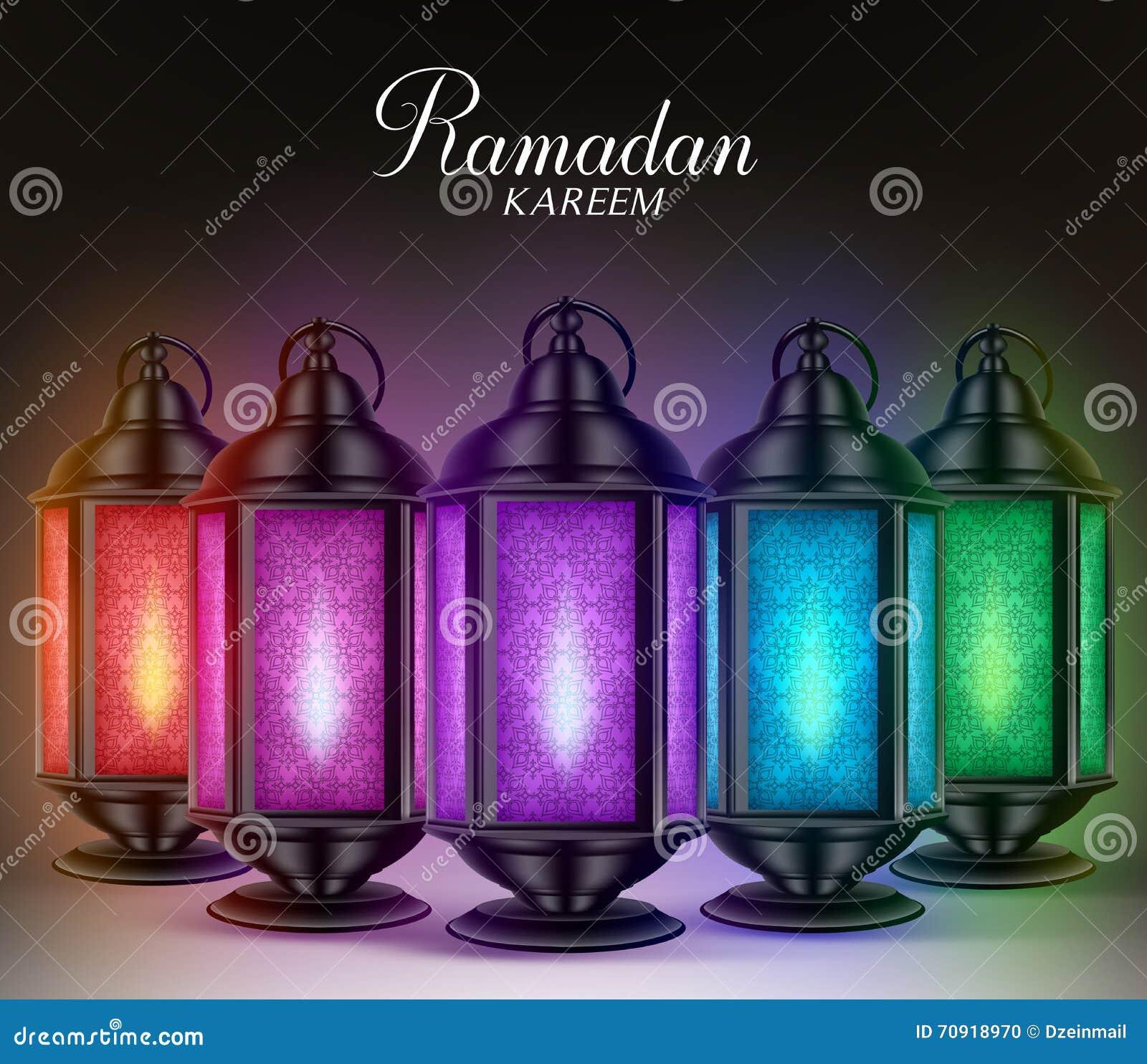 Ramadan greetings in arabic scriptdilfitri graphic design colorful set of ramadan lanterns or fanous with lights and ramadan kareem greetings stock photo kristyandbryce Image collections