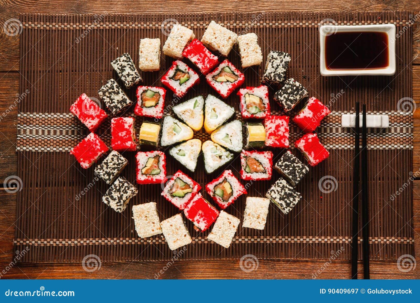 Colorful Set Of Sushi Food Art Japanese Cuisine Stock Image Image Of Rice Roll 90409697