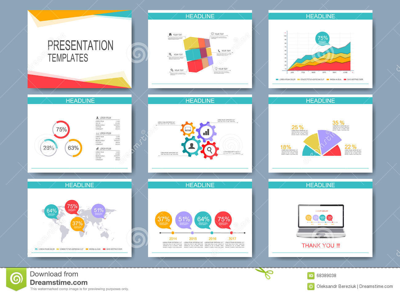 Colorful Set Of Vector Templates For Multipurpose