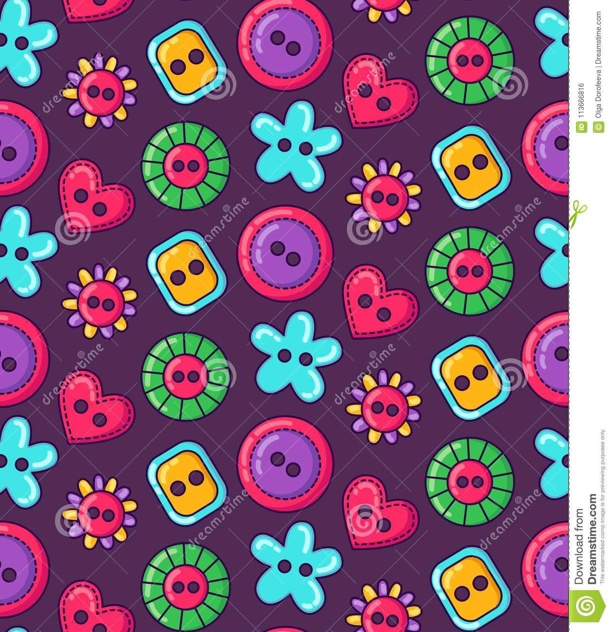 Colorful sewing buttons seamless simple vector pattern