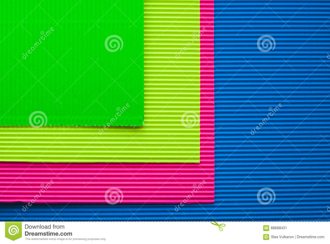 Colorful Sheets Of Corrugated Cardboard Stock Image Image Of