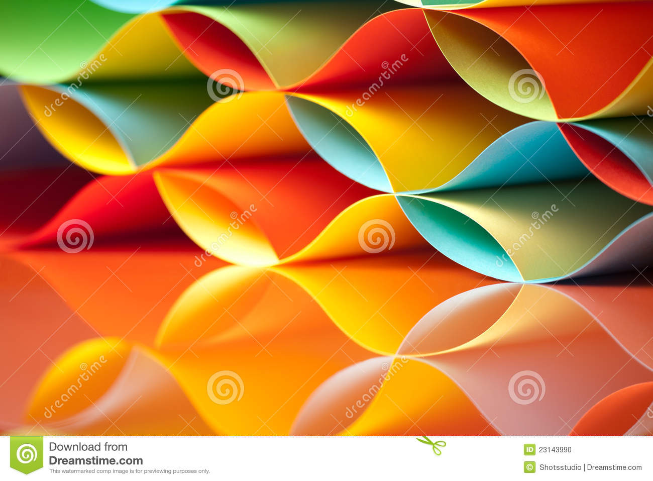 Colorful Sheets Paper With Mirror Reflexions Stock Photo - Image of ...