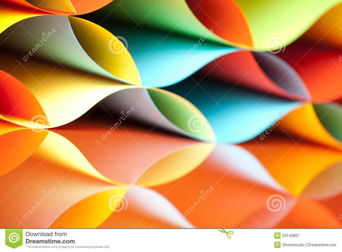 Colorful Sheets Paper With Mirror Reflexions Stock Image - Image of ...
