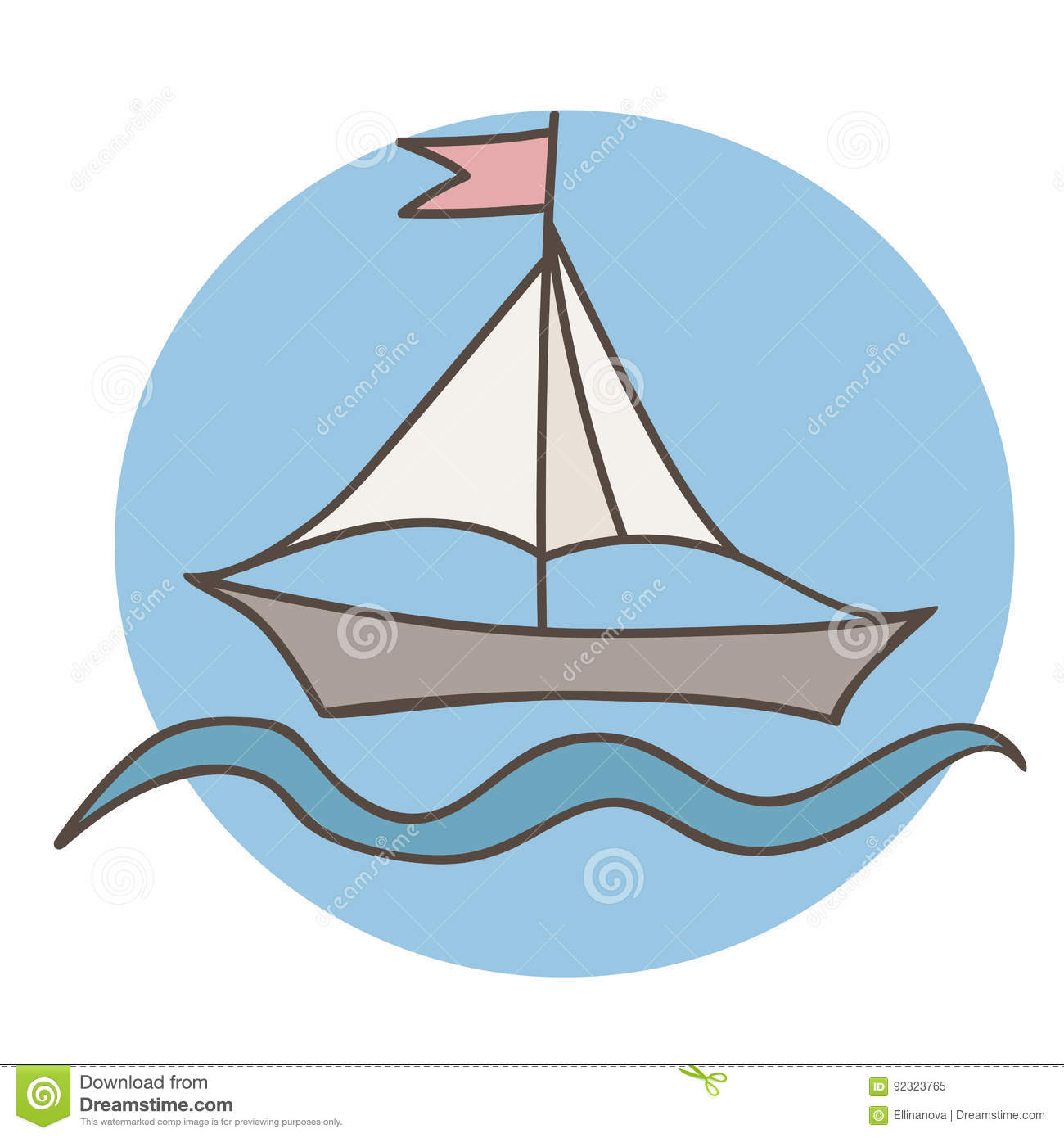 Colorful Ship With Flag For Coloring Book And Other Child Design ...