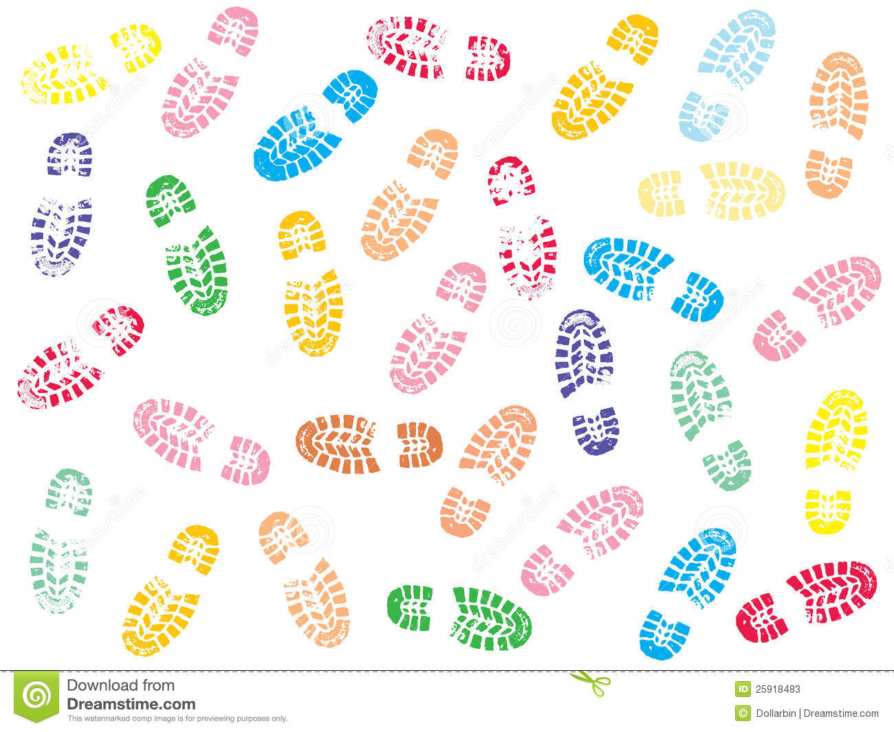 Colorful Shoe Prints Stock Photos Image 25918483