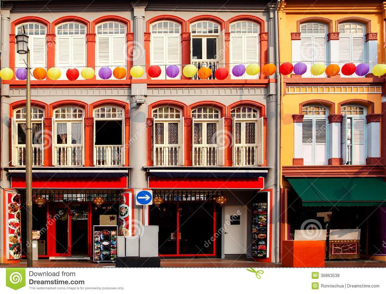 Colorful Shophouses In Singapore Chinatown Royalty Free