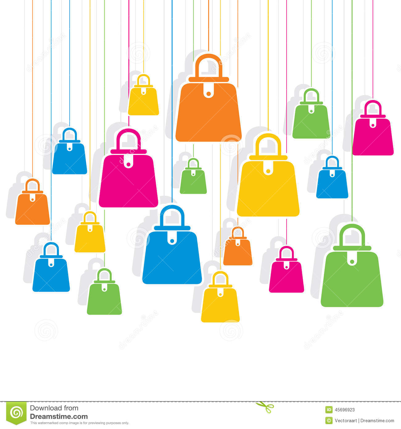 Colorful Shopping Bag Pattern Background Stock Vector - Image ...
