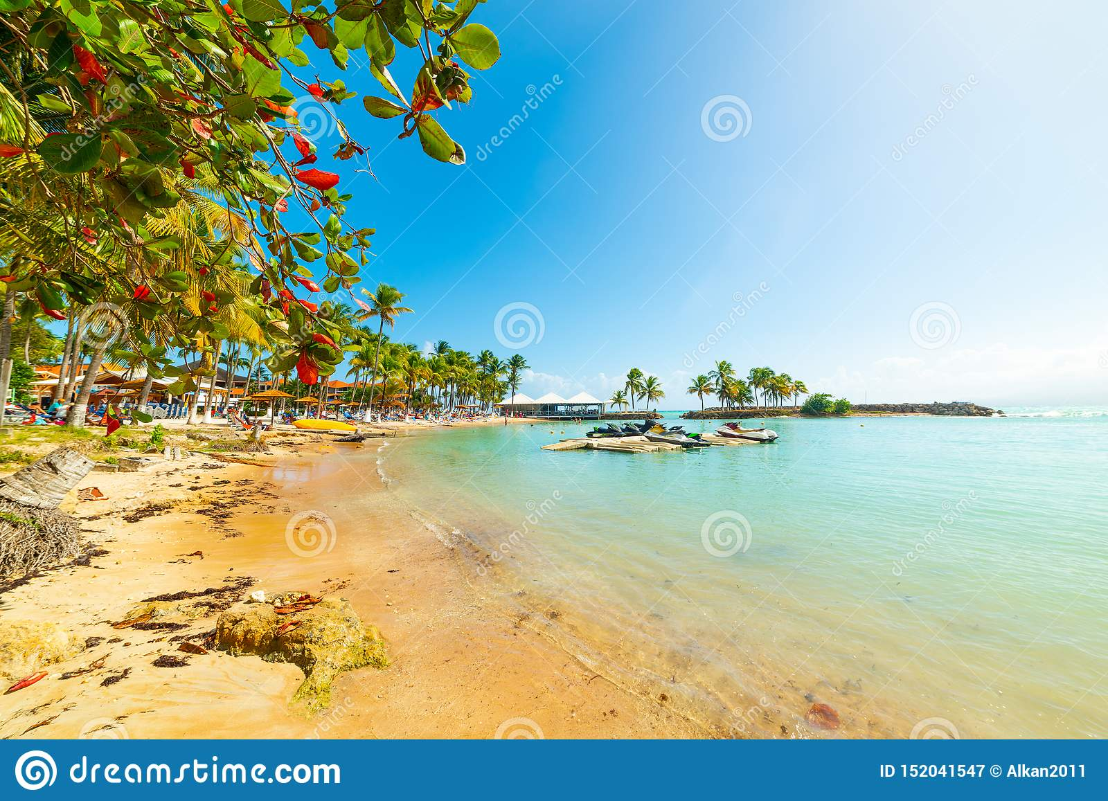 Colorful Shore In Bas Du Fort Beach In Guadeloupe Stock Image Image Of Sand Island 152041547