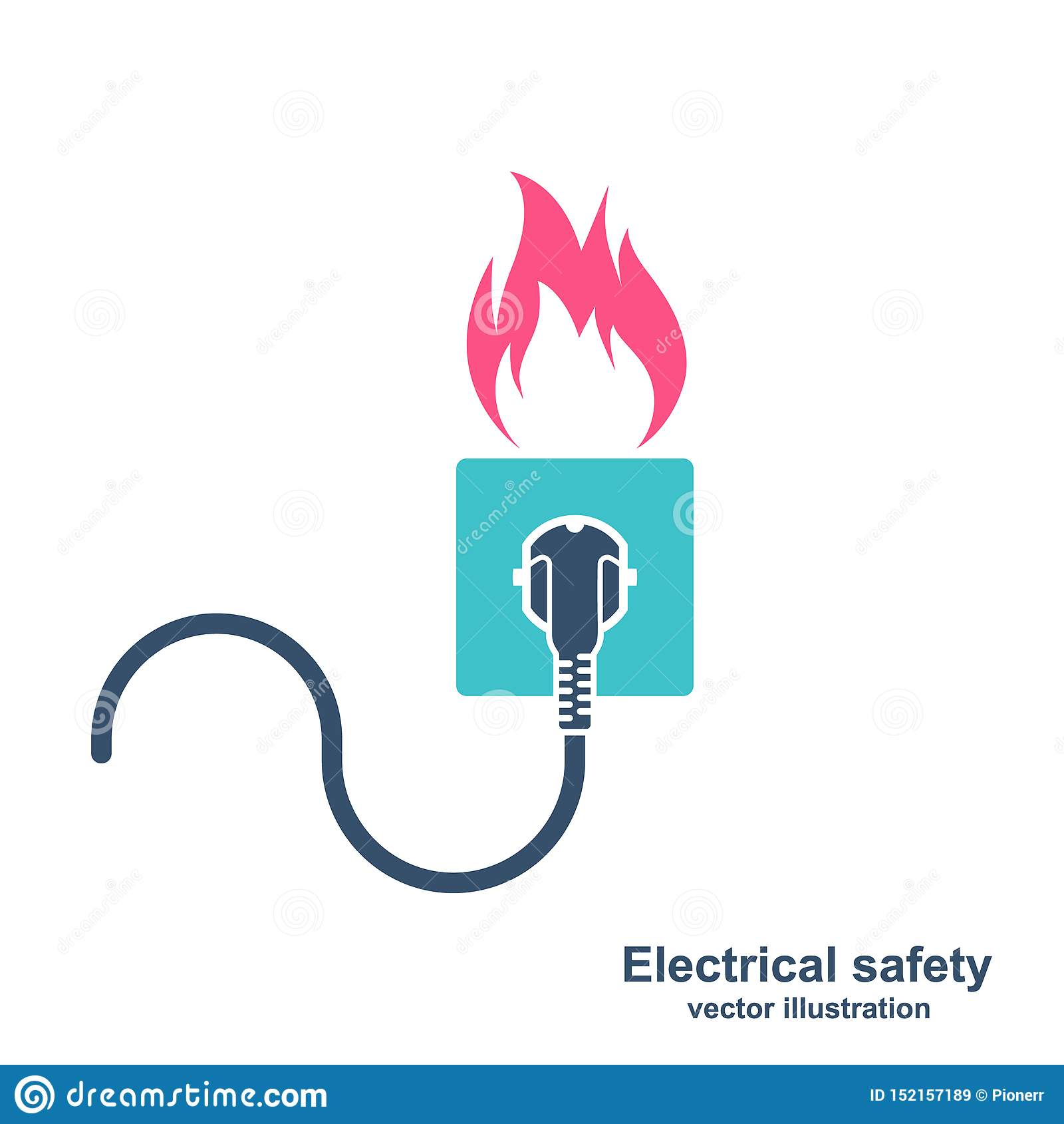 Colorful Silhouette Fire Wiring Stock Vector Illustration Of Outlet Accident 152157189