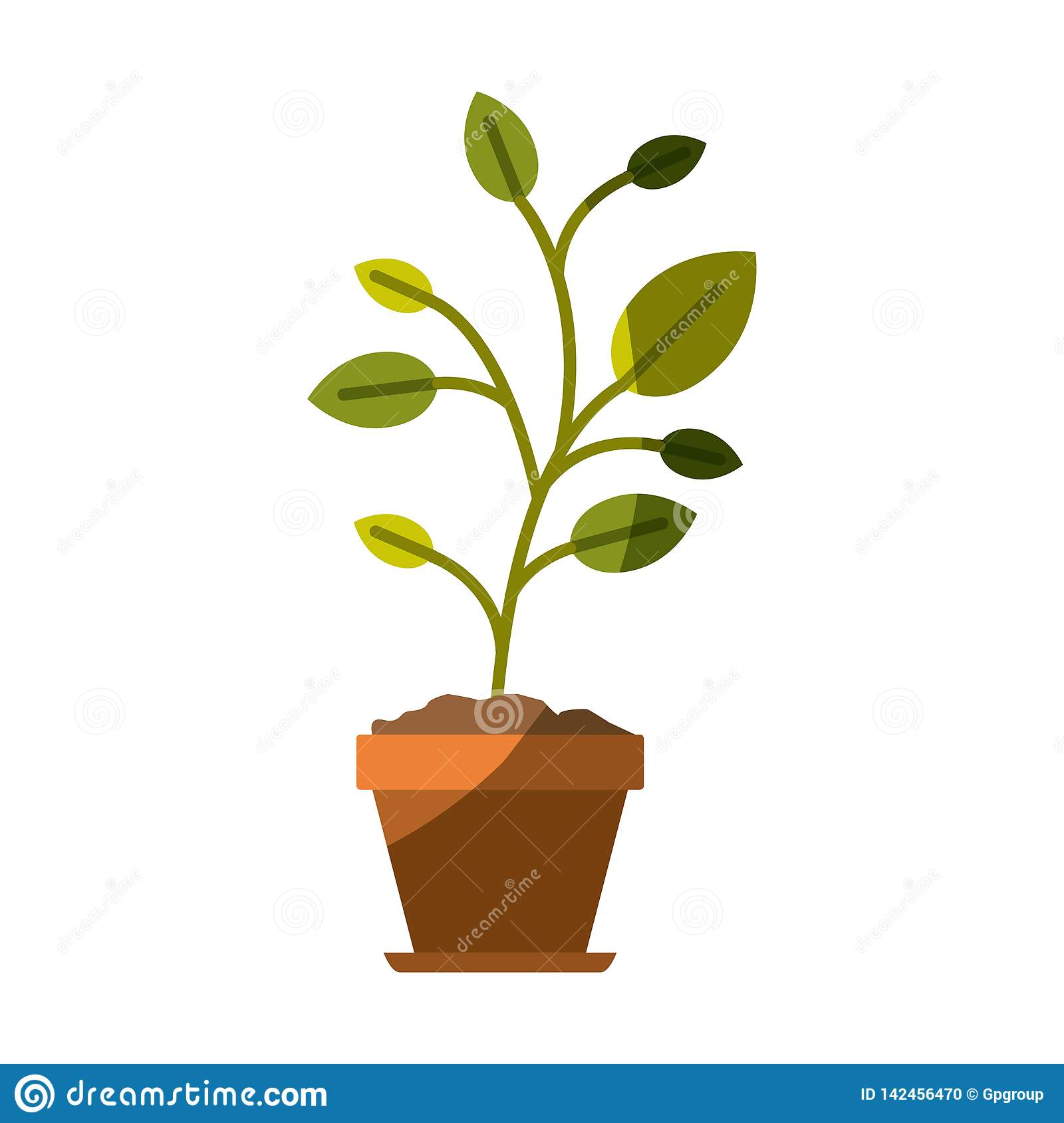Colorful silhouette of plant in flower pot without contour
