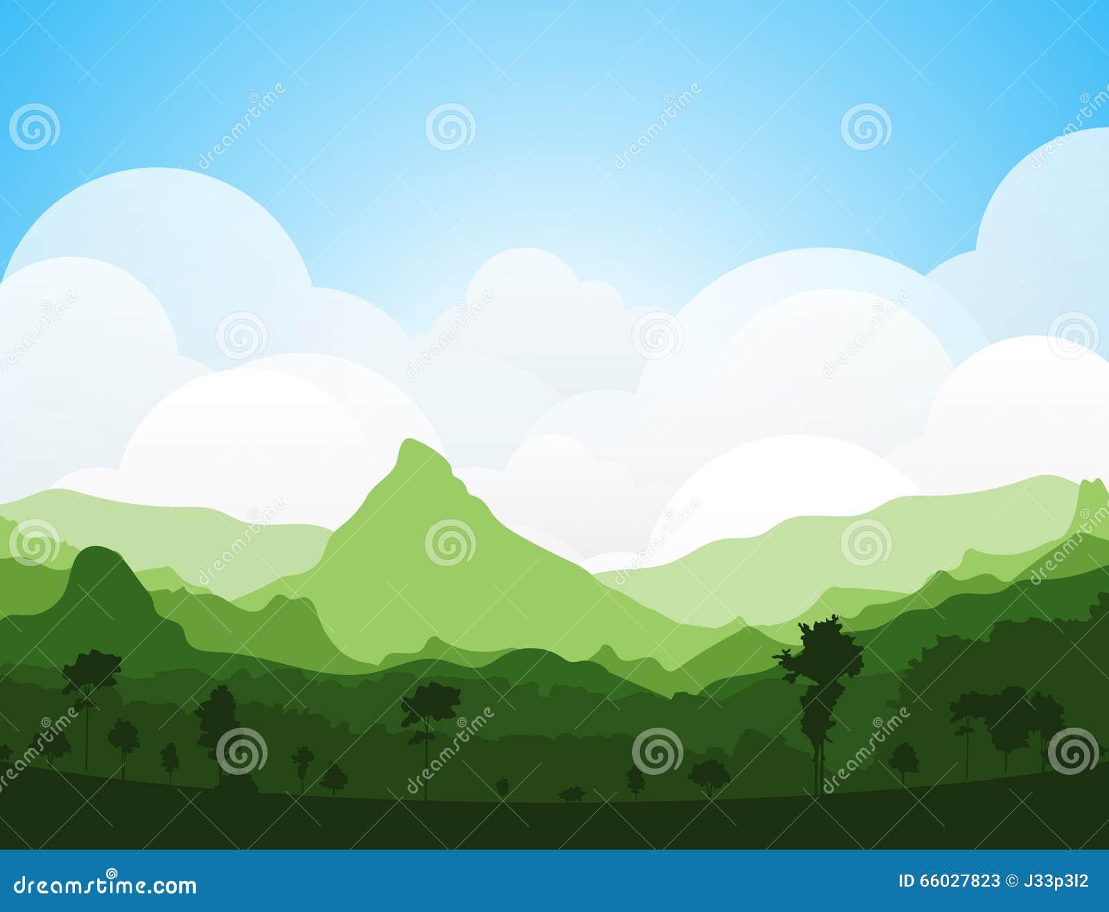 Landscape Illustration Vector Free: Colorful Silhouette Summer Landscape Stock Vector