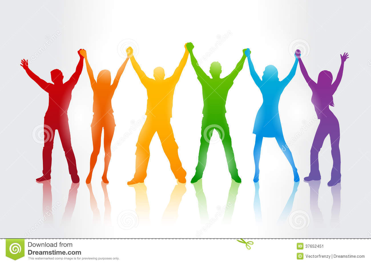 Colorful silhouettes of people supporing LGBT rig Stock Image