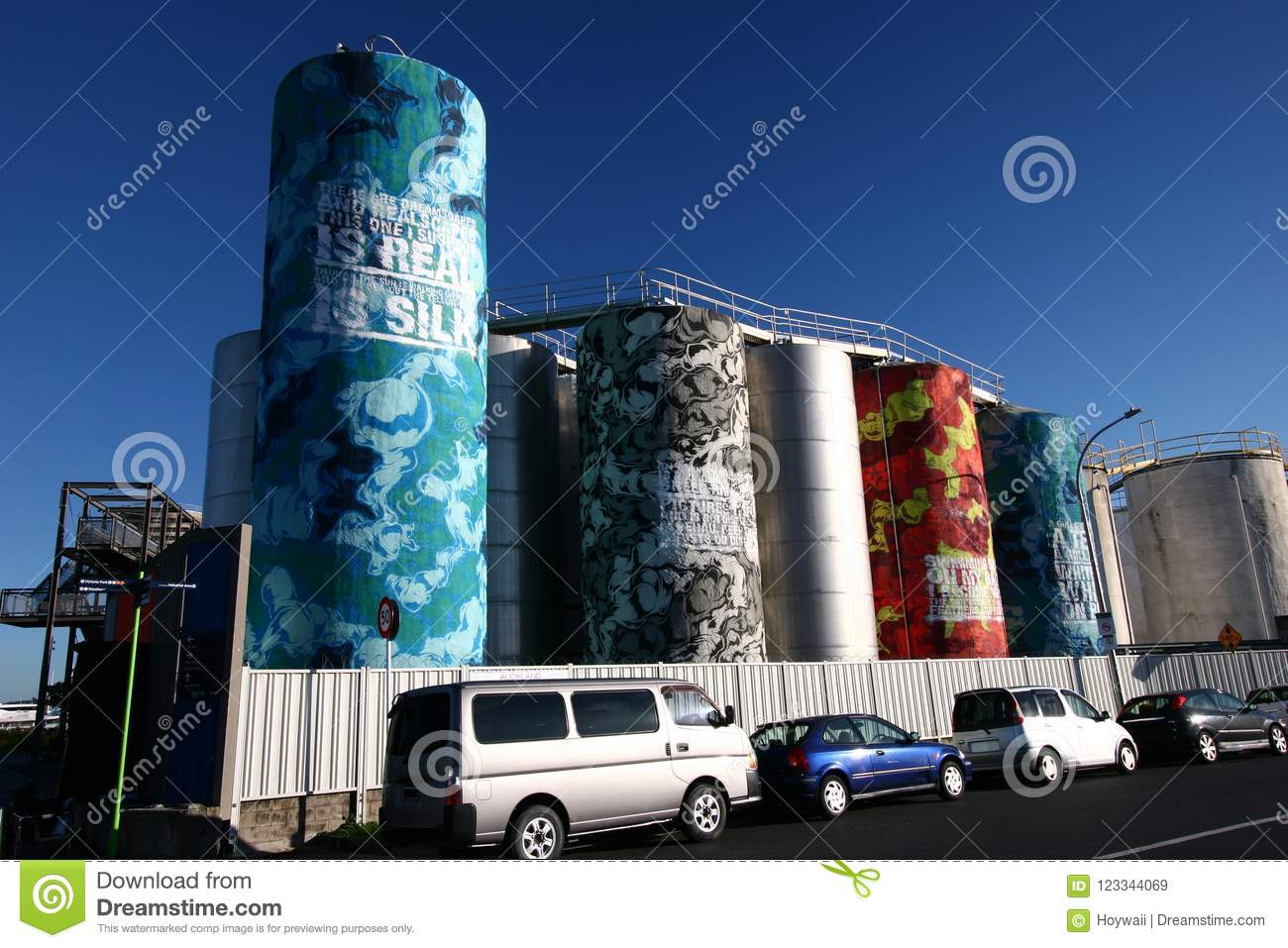 Popular Tourist Sightseeing Attraction Of Colorful Painted Silos In