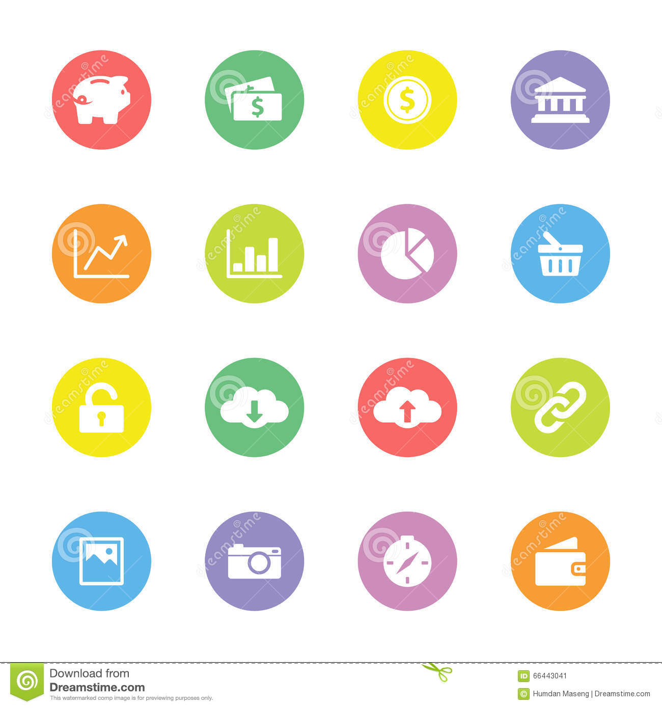 Colorful Flat Finance And Technology Icon Set On Circle