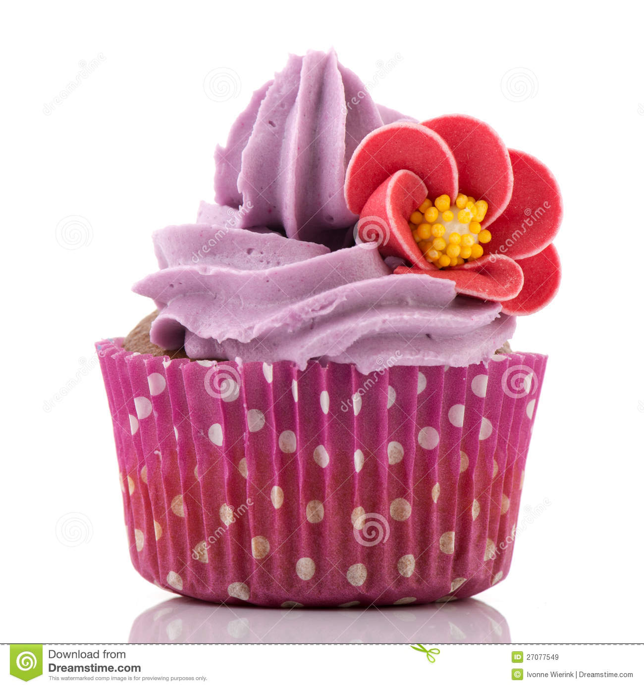 Colorful Single Cupcake In Purple Royalty Free Stock ...