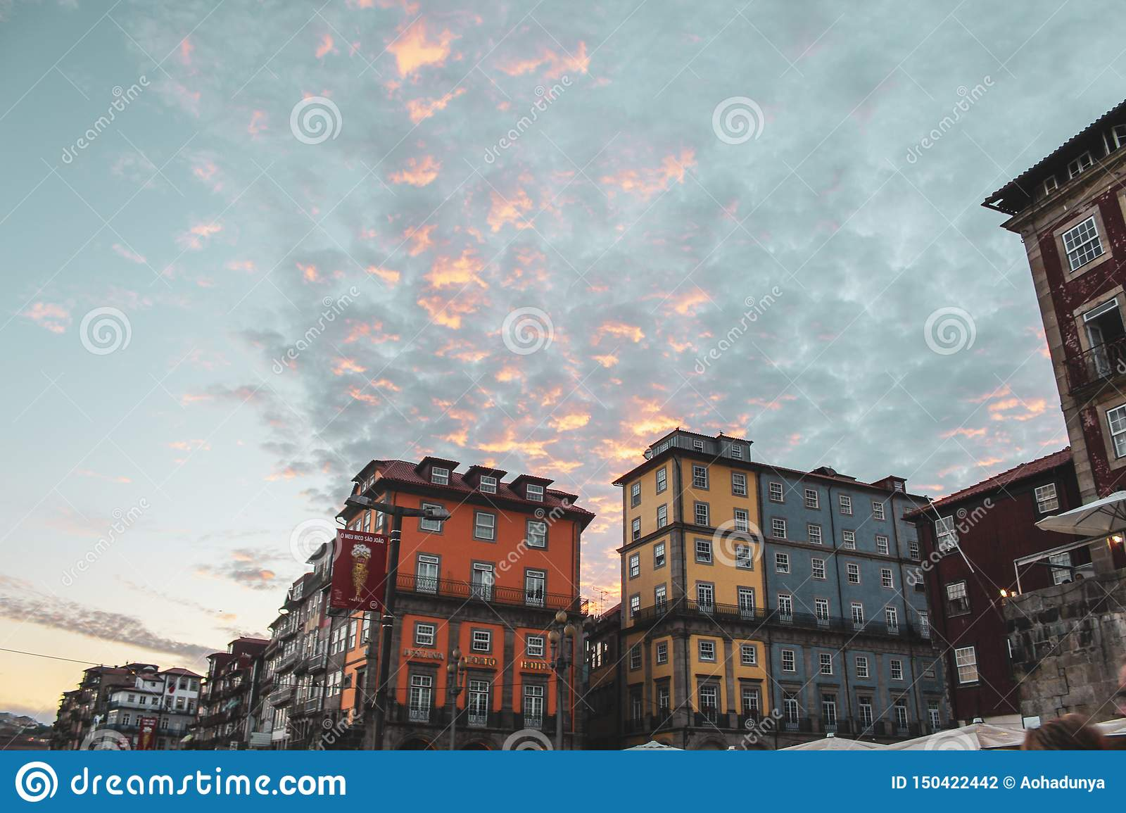 Colorful sky and building of Porto
