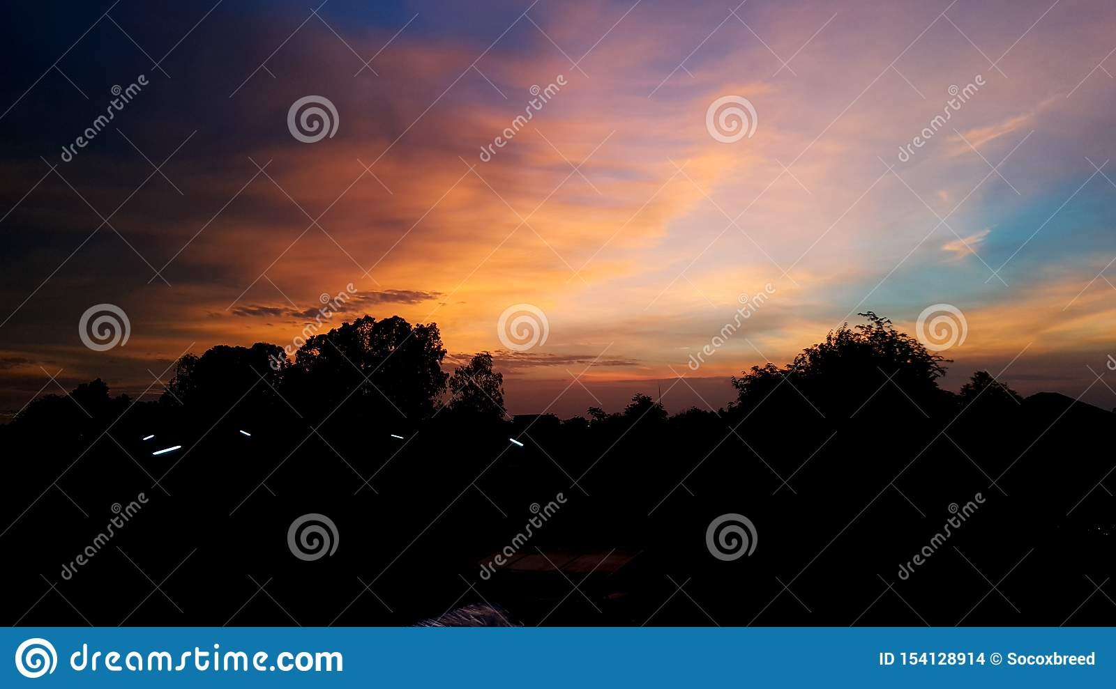 Twilight sky and cloud at evening background