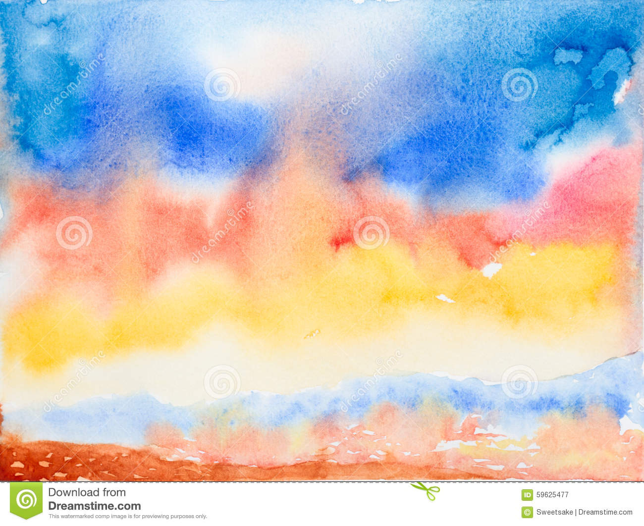 Colorful Sky And Sea watercolor Painted Stock Illustration - Image: 5962...