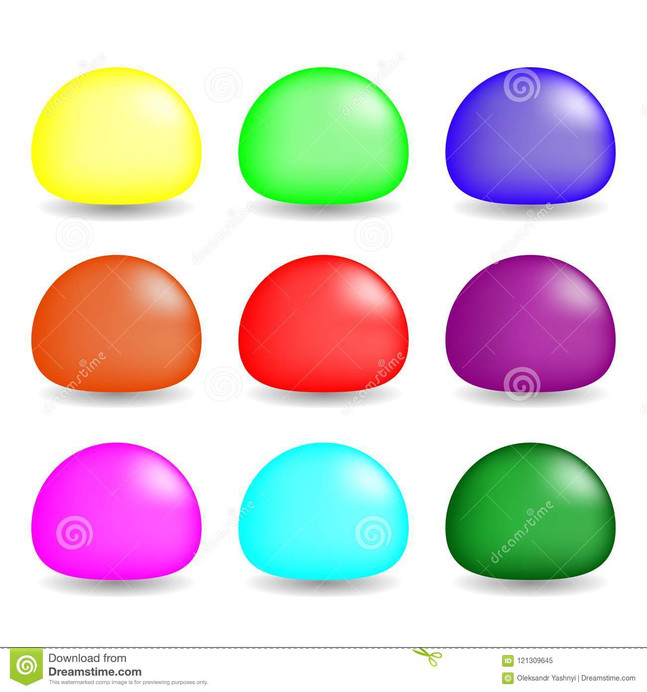 Colorful Slimes Set on White Background. Vector Set for Design, Game. Collection of game characters.