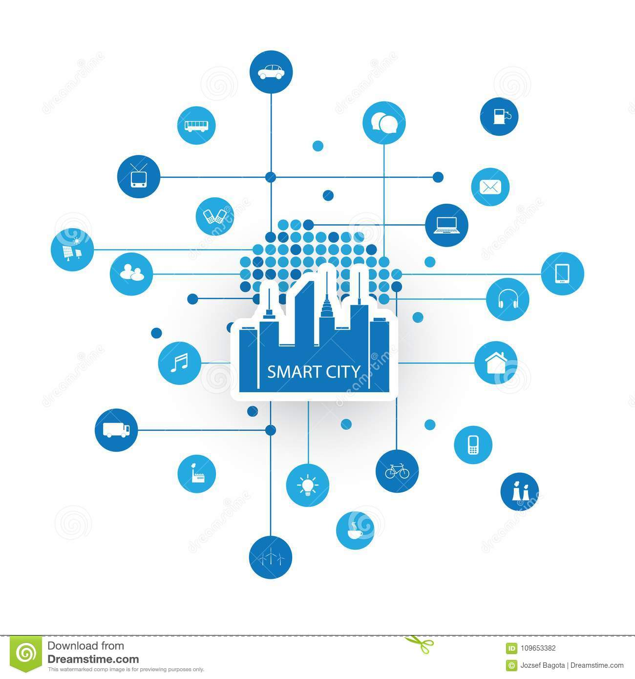 Colorful Smart City Design Concept With Icons Stock Vector ...