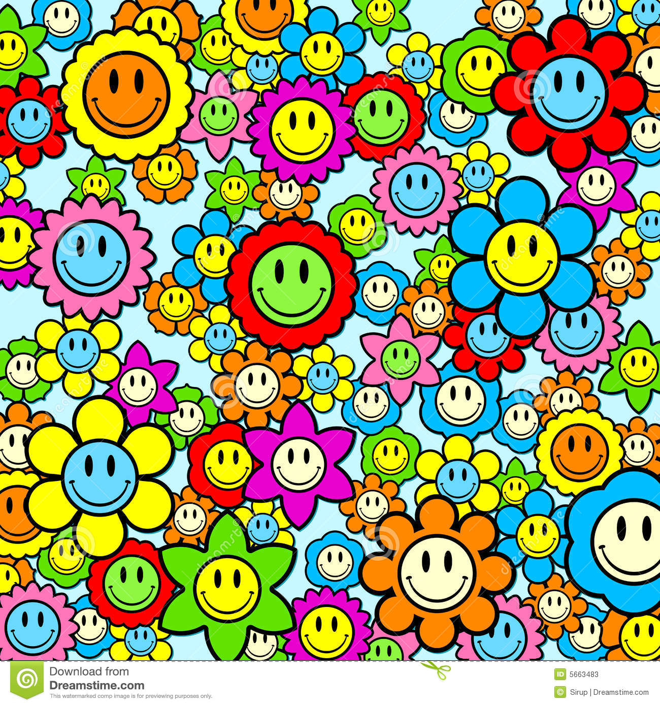 Colorful Smiley Face Flower Background Stock s Image