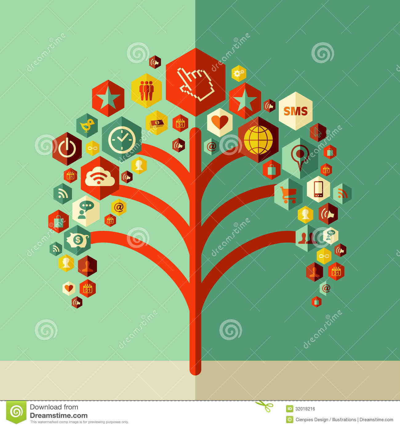 colorful social network tree royalty free stock image