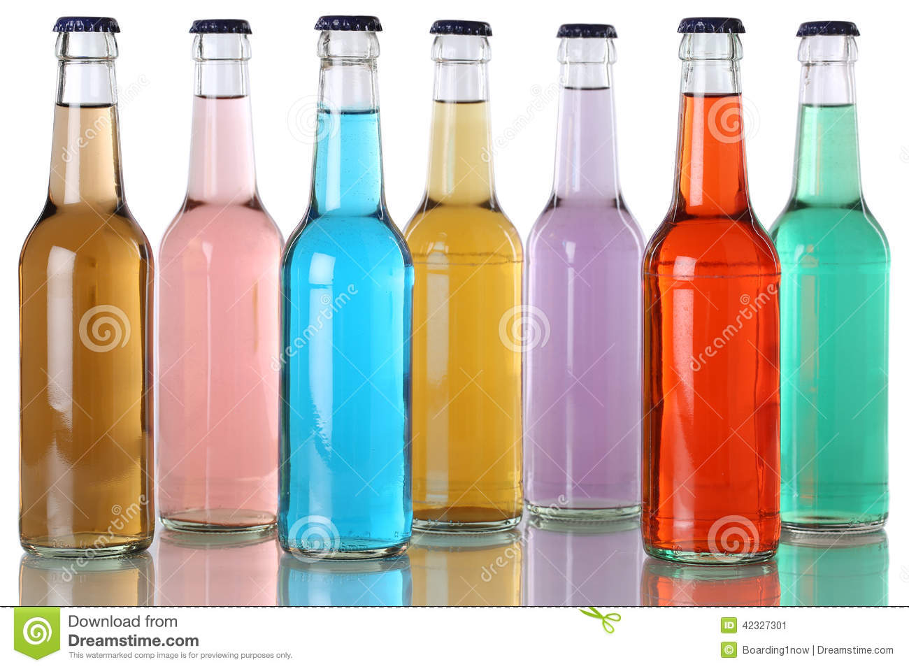 Colorful soda drinks with cola in bottles