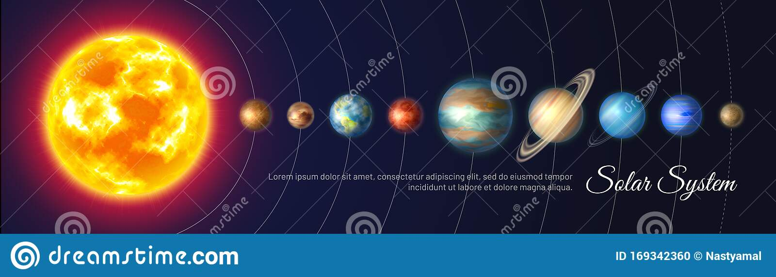 Colorful Solar System With Nine Planets Stock Vector Illustration Of Cosmic Pluto 169342360