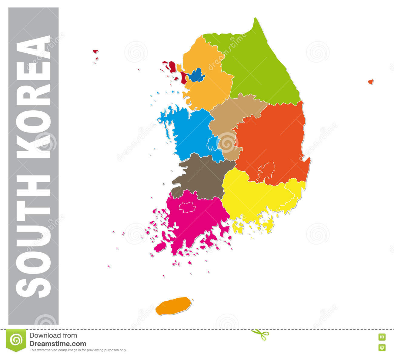 Colorful South Korea Administrative And Political Map Stock Vector