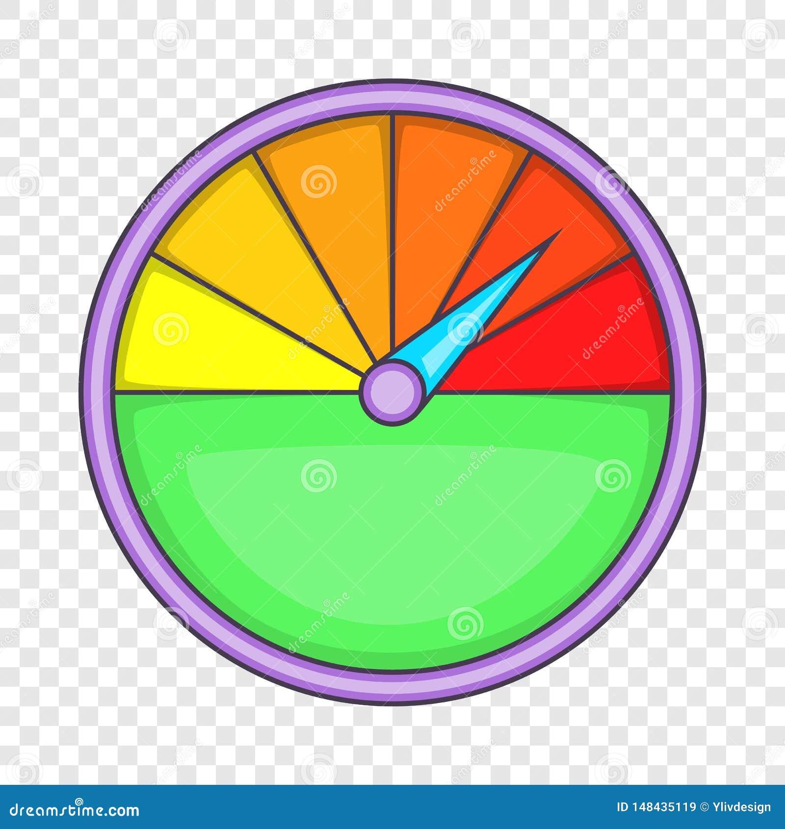 Colorful Speedometer Icon, Cartoon Style Stock Vector