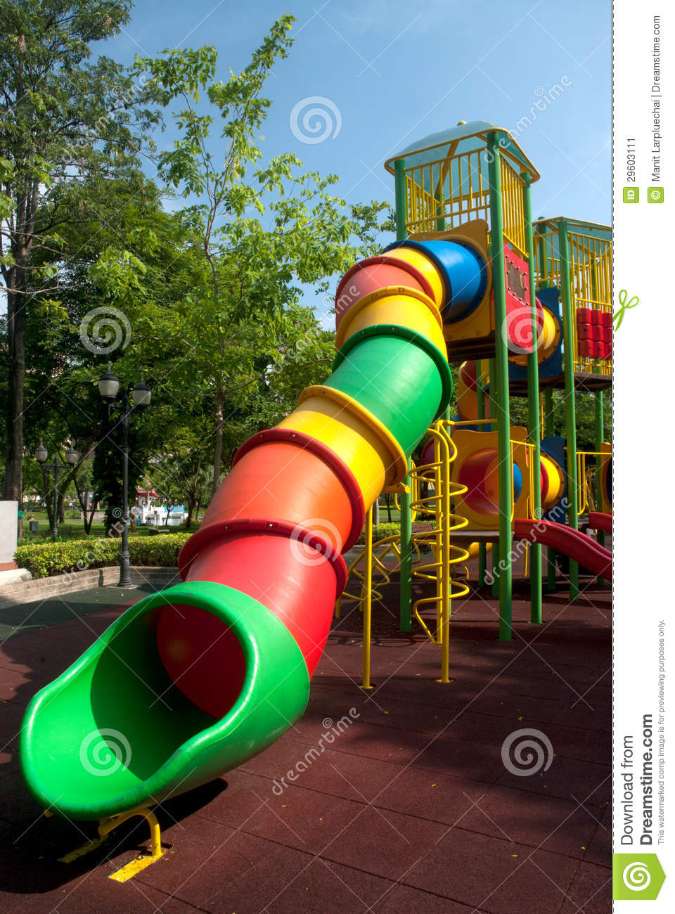 Colorful Spiral Tube Slide At Public Playground . Stock ... - photo#31
