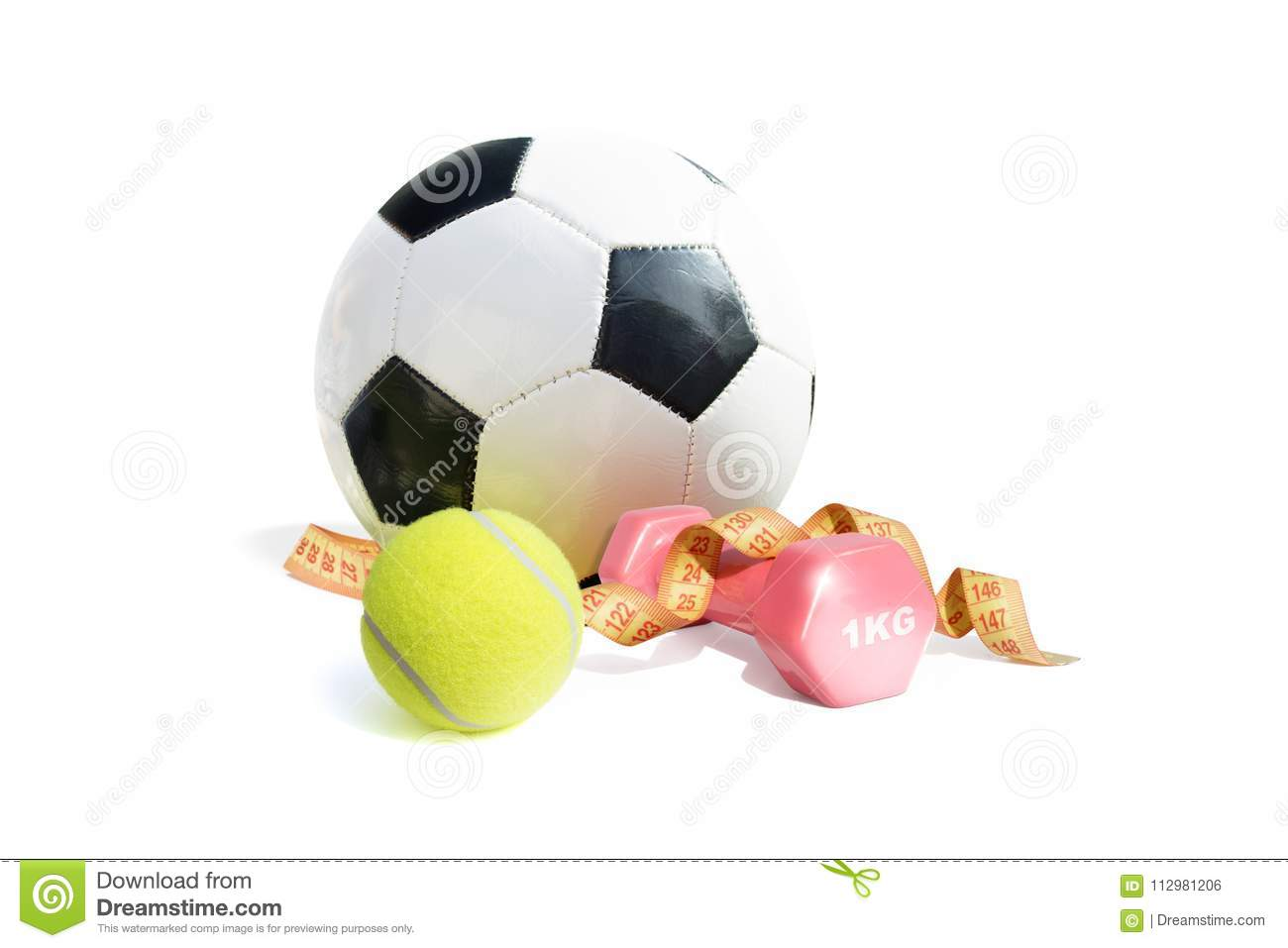 Colorful sport equipment isolated on white background