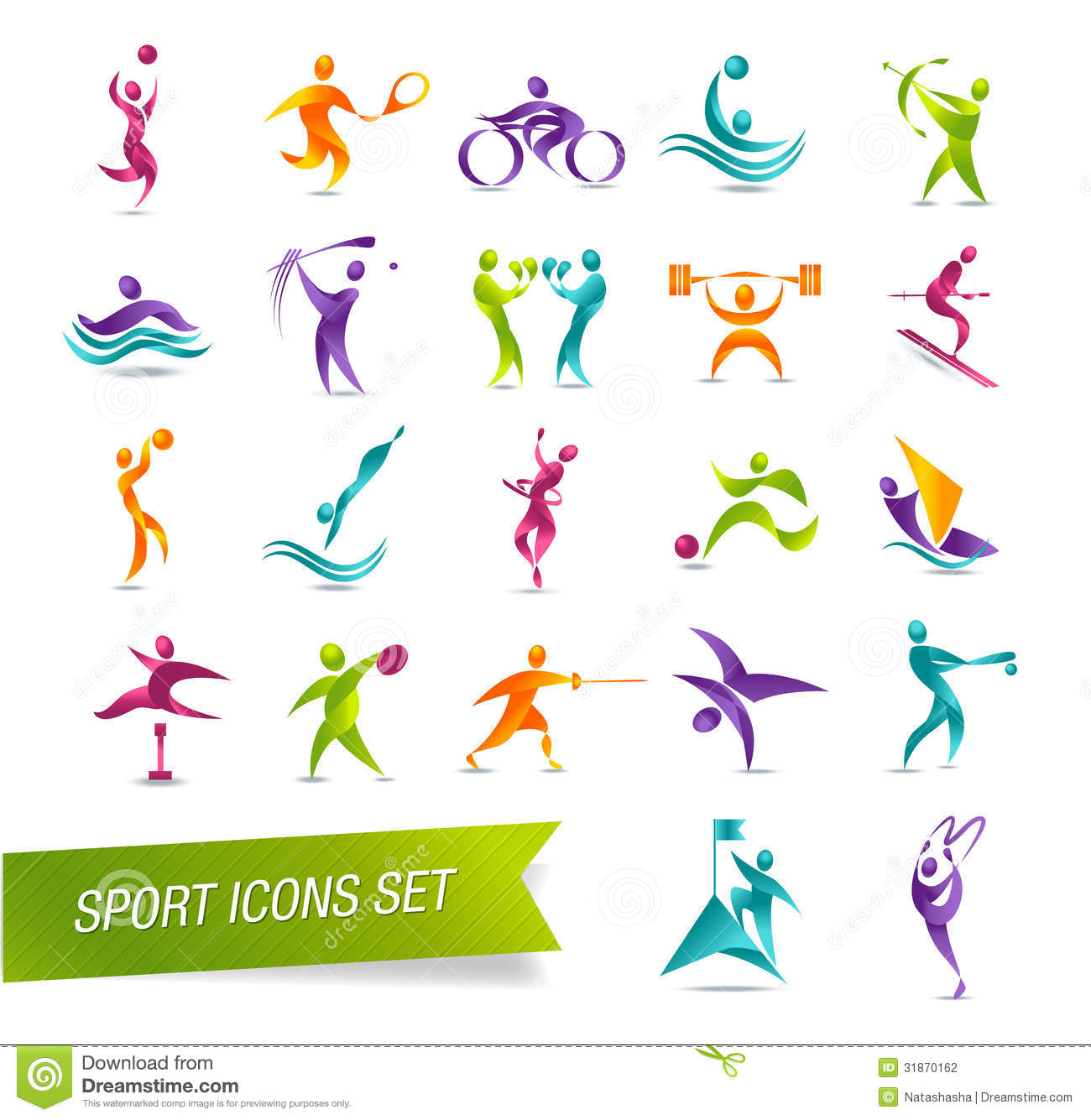 Colorful Sports Icon Set Illustration Stock Photography