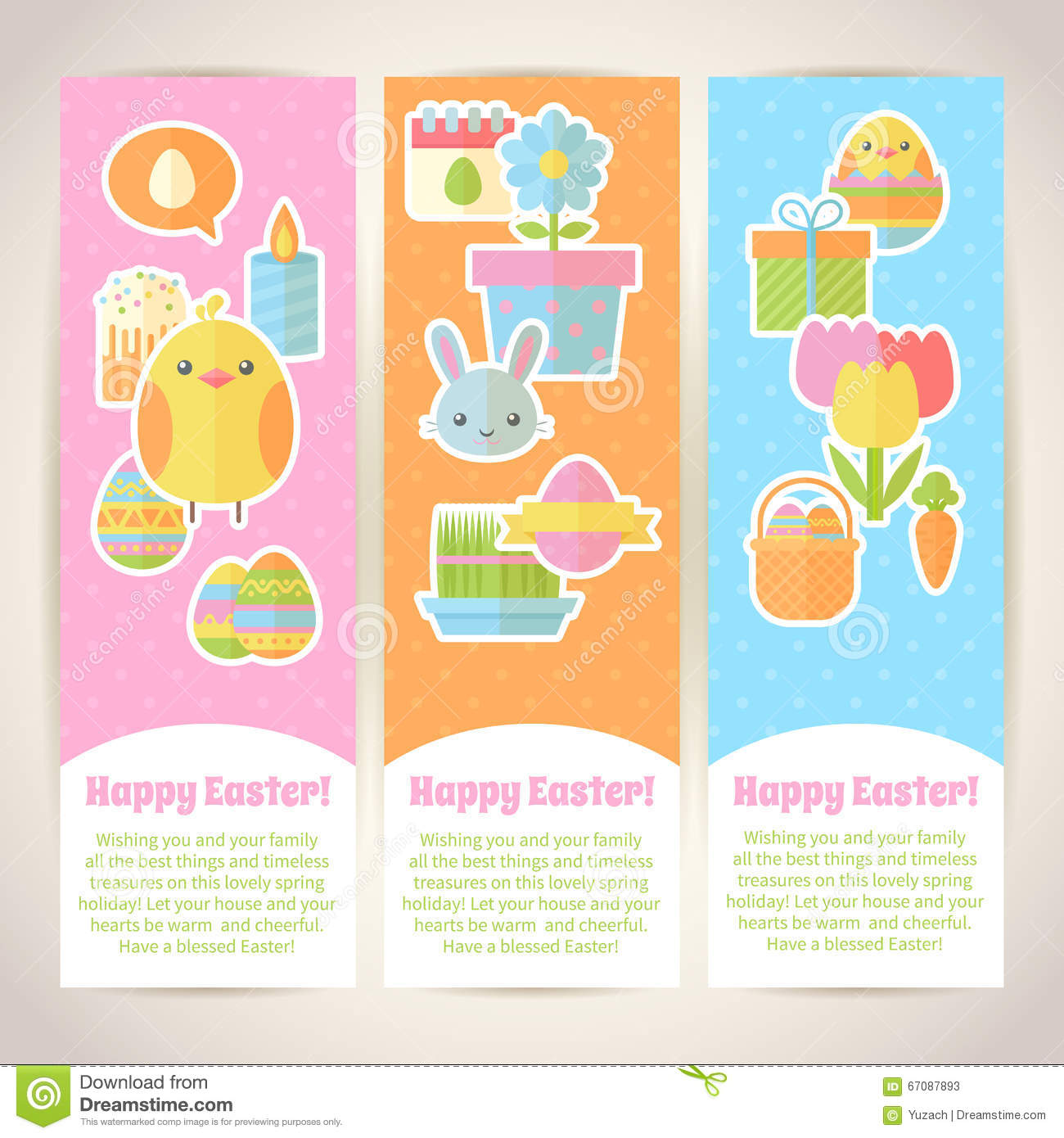 Colorful spring Easter flat banners set with bunnies chicken eggs D2KwDH2M