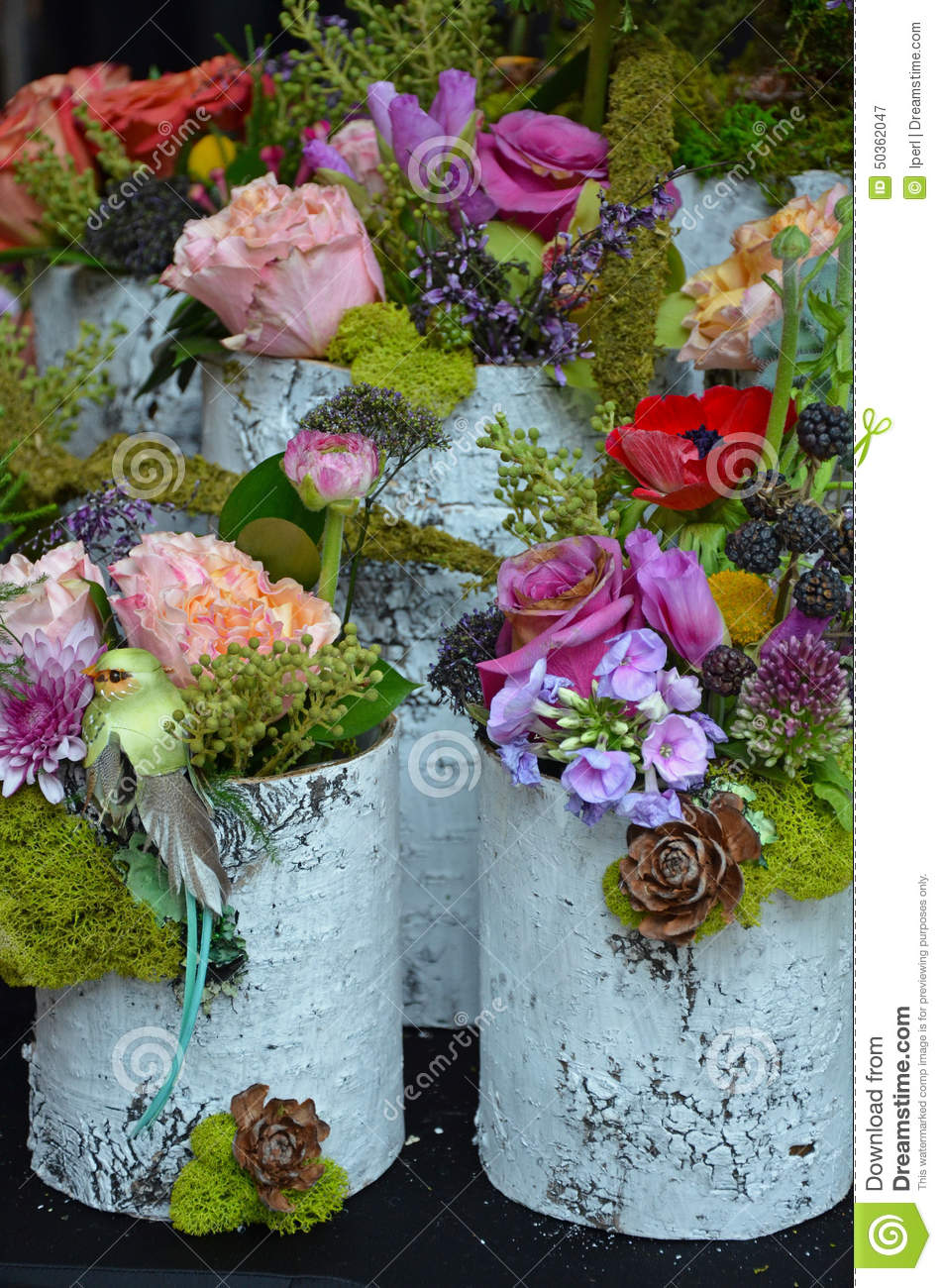 Colorful Spring Flower Arrangements Stock Image Image Of Colorful