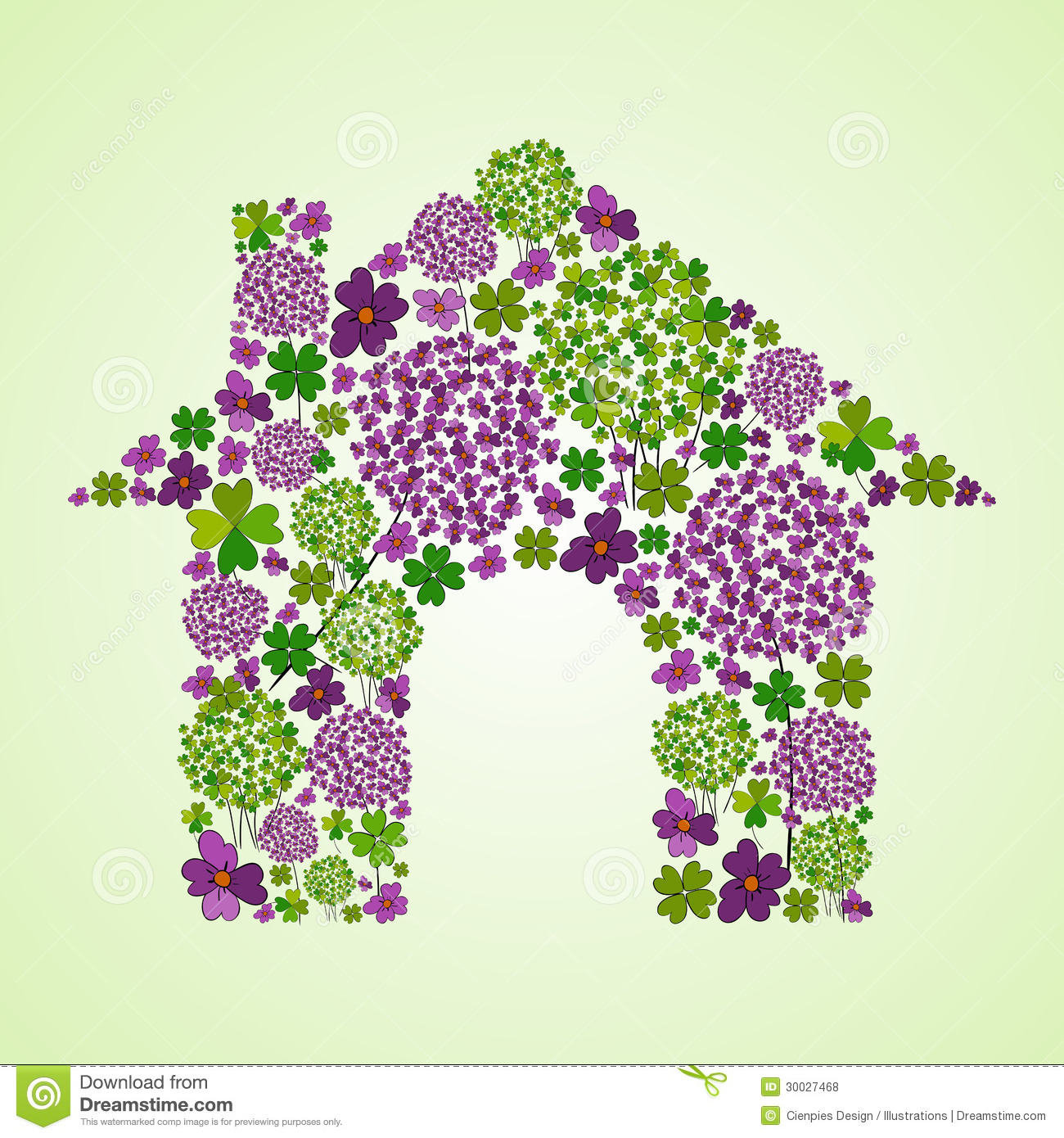 Colorful spring flower icons texture in green house icon shape    Real Flower Icons