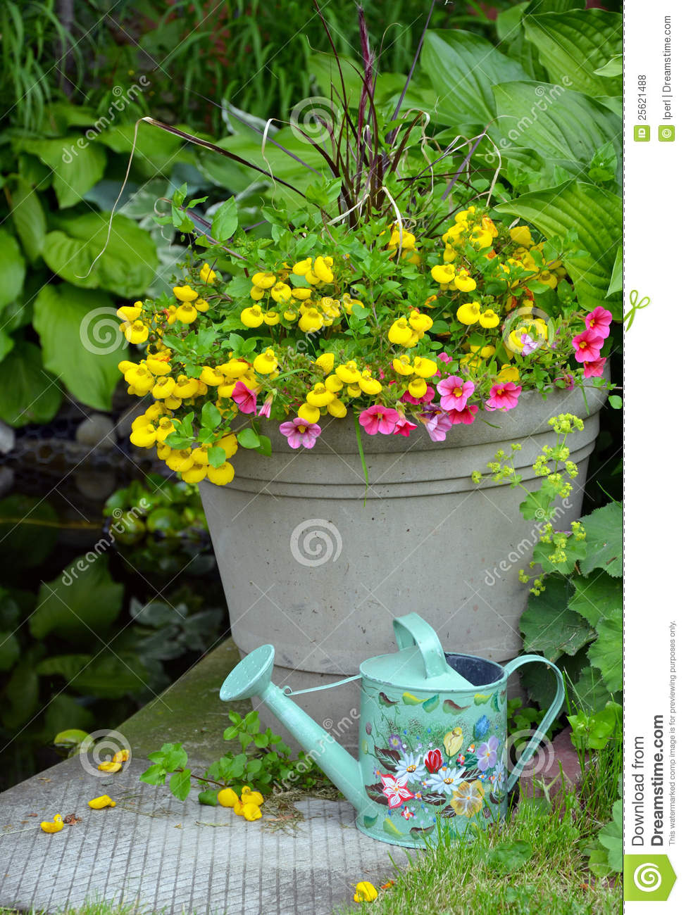 Colorful Spring Flower Planter Royalty Free Stock Photos