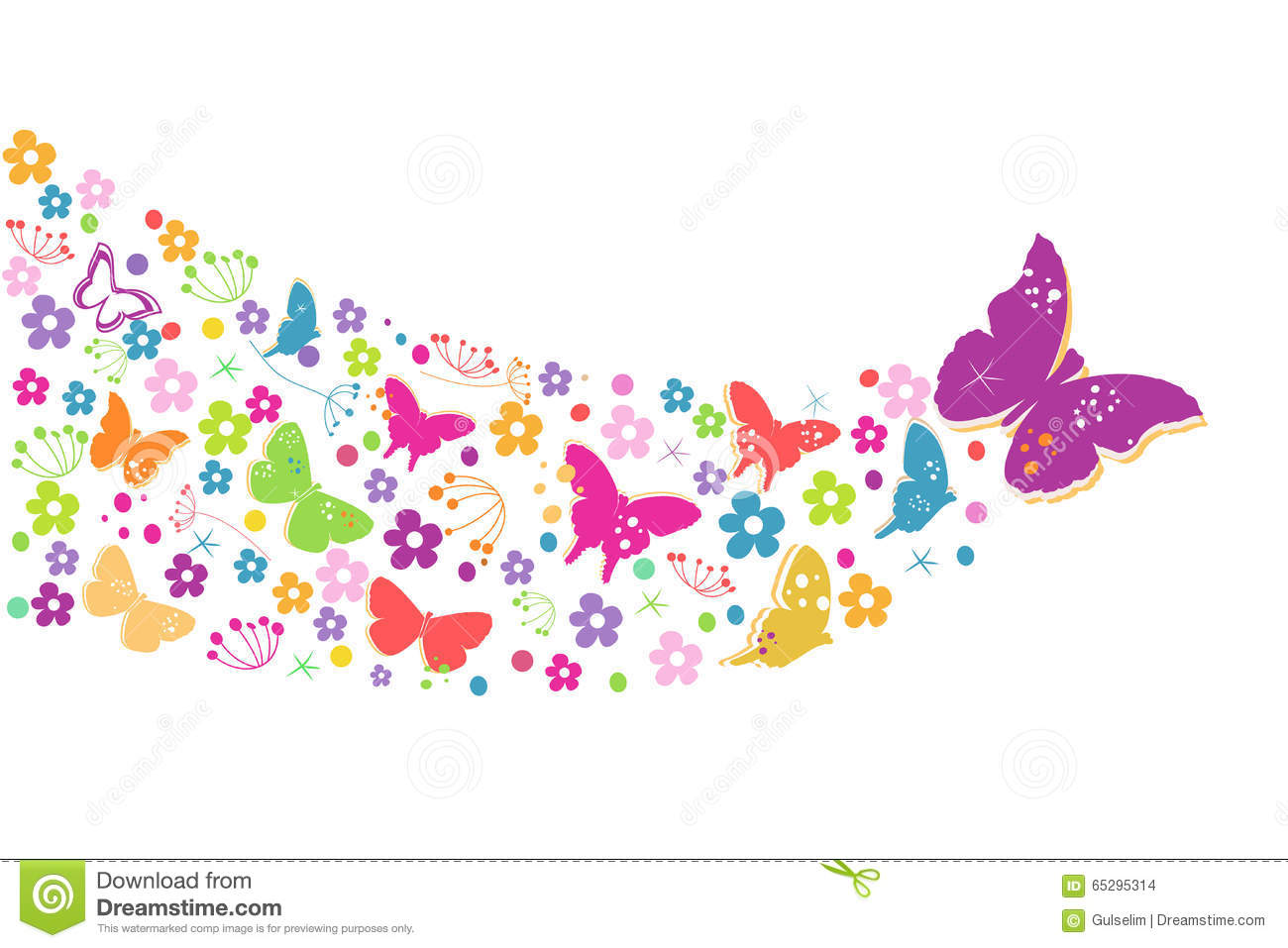 Colorful Spring Flowers With Butterflies Background Stock ...