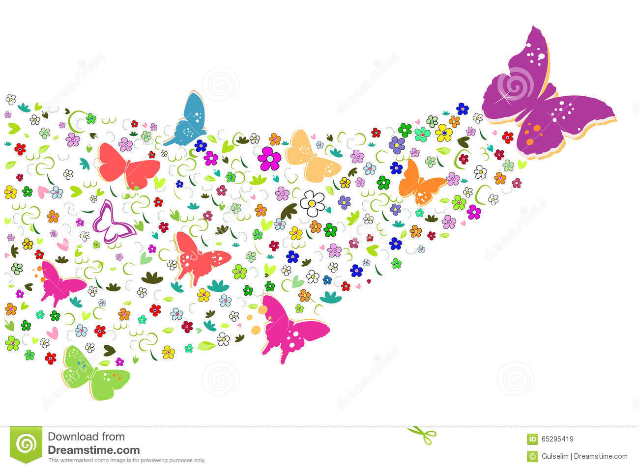 Colorful Spring Flowers With Butterflies Background Stock Vector