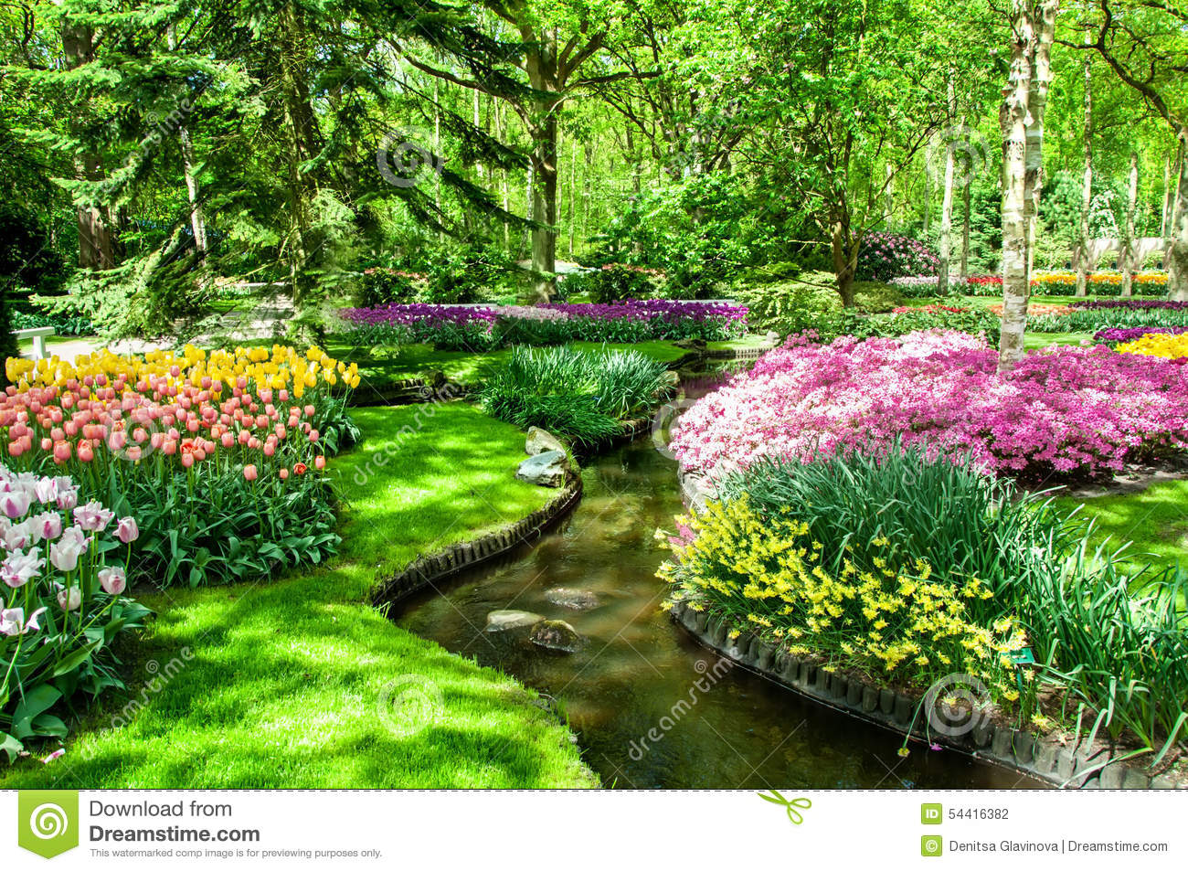colorful spring flowers in holland garden keukenhof netherlands stock photo image 54416382. Black Bedroom Furniture Sets. Home Design Ideas