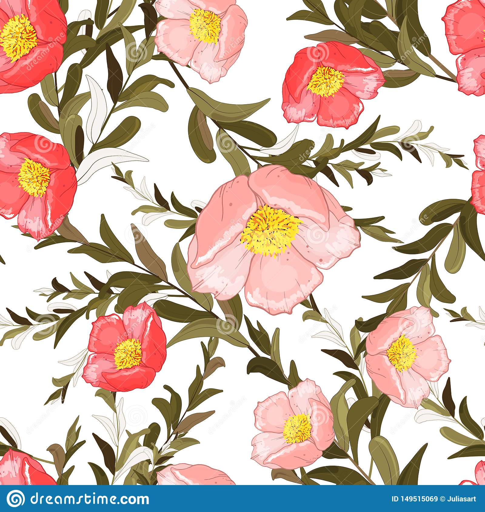 Colorful spring seamless wallpaper with cute flowers. Vector hand drawn illustration set. Retro watercolour style floral design