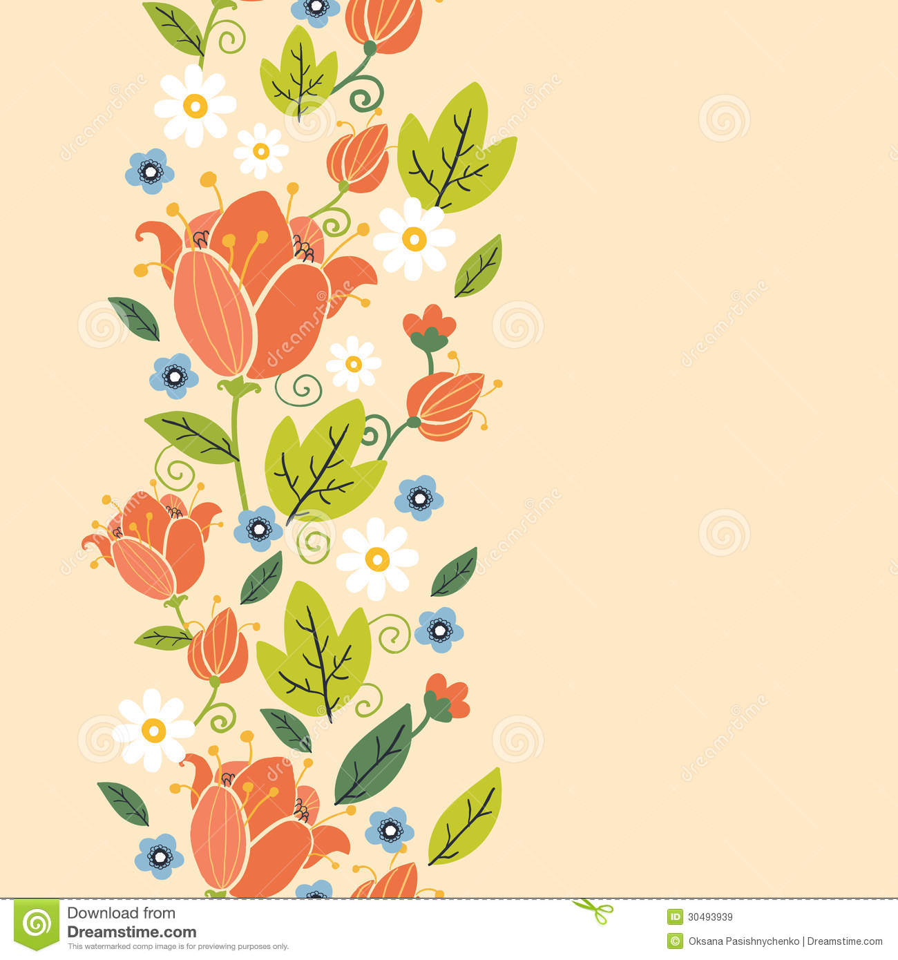 Download Colorful Spring Tulips Vertical Seamless Pattern Stock Vector