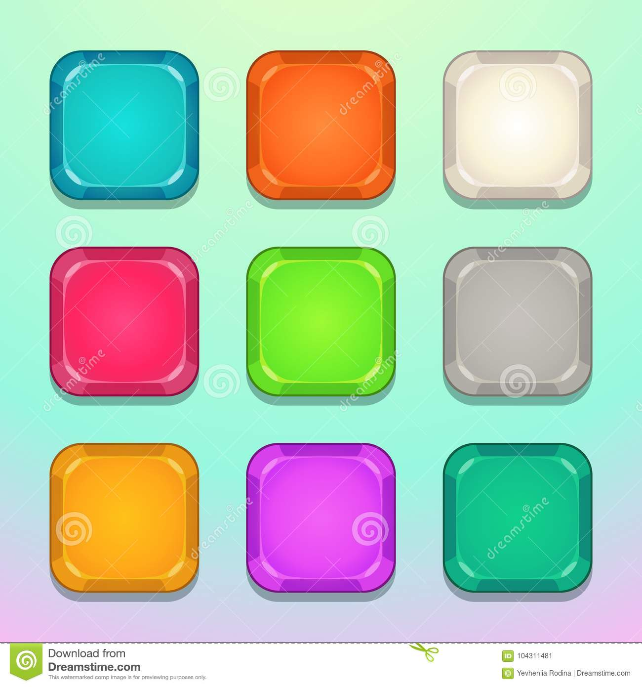 Colorful Square Buttons Set  Stock Vector - Illustration of